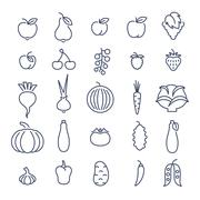Farm fruits and vegetables flat line vector icons set - stock illustration