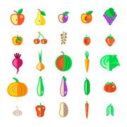 Farm fruits and vegetables flat vector icons set - stock illustration