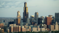 Aerial sunrise view of Willis Tower and Lake Michigan Chicago USA Stock Footage