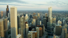 Aerial view of Chicago city skyscrapers and urban areas at sunrise Stock Footage