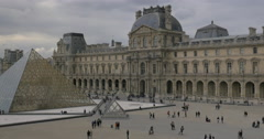 Louvre and Glass Pyramid, Paris Stock Footage