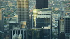 Aerial sunrise view of downtown city skyscrapers Chicago Illinois US Stock Footage