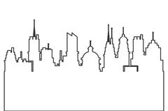 Modern city skyline silhouette outline icon Piirros