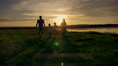 Family Walking Beach Sunset Travel Holiday Stock Footage