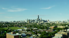 Aerial view of Chicago Amusement Park and Fairground USA Stock Footage