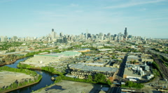 Aerial view of Chicago rivers and canal system USA Stock Footage