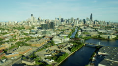 Aerial view of Chicago River and canals by downtown Chicago city Stock Footage