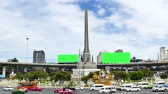 Blank advertising billboard green screen at The Victory Monument. Stock Footage