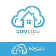 Vector cloud and house logo concept - stock illustration