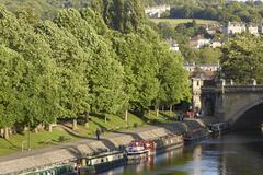 Bath, England - August 24, 2010: Canal Boast on the River Avon Stock Photos