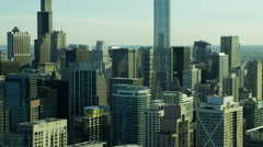 Aerial view of modern city skyscrapers Chicago Illinois US Stock Footage