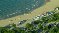 Aerial view of beach area on Lake Michigan Chicago USA Stock Footage