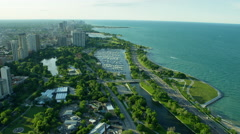 Aerial view of Chicago waterfront and marina Stock Footage