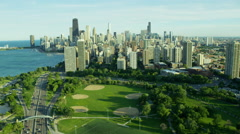 Aerial view of parks and modern skyscraper buildings Chicago USA Stock Footage
