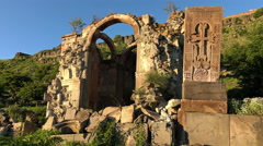 Splendid ruins of the medial armenian church, Dsegh, Armenia Stock Footage