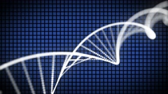 DNA double helix animation loop with depth grid blue - stock footage