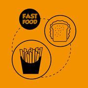 Flat illustration about fast food design - stock illustration