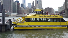 Water Taxi dropping off passengers at DUMBO in New York City 4k Stock Footage