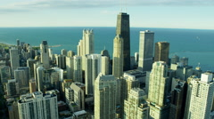 Aerial view of modern skyscrapers Downtown Chicago Illinois US Stock Footage