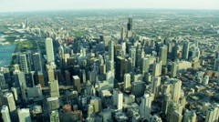 Aerial cityscape view of skyscrapers and suburban areas Chicago Stock Footage