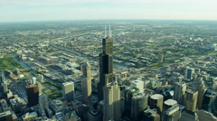 Aerial view of Willis Tower and suburban areas Chicago US Stock Footage