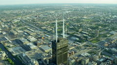 Aerial view of Sears Tower and city freeway traffic Chicago US Stock Footage