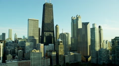 Aerial view of downtown city skyscrapers Chicago Illinois US Stock Footage