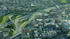 Aerial view of busy freeway traffic Chicago Illinois US Stock Footage