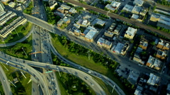 Aerial view of Chicago city freeway traffic system Stock Footage