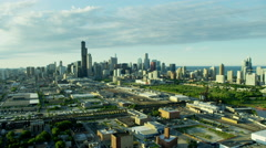 Aerial view of downtown railroad and commercial areas Chicago USA Stock Footage