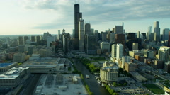 Aerial view of Chicago city buildings and waterways - stock footage