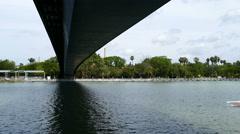 View over canal Alfonso XIII in Seville, Bridge de la Barqueta Stock Footage
