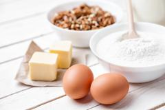 Baking and cooking concept, variety of ingredients and utensils - stock photo
