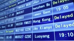 Departure flight information board Stock Footage