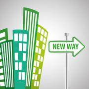Way design, street and road sign concept, editable vector - stock illustration
