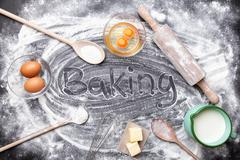 Baking and cooking concept, variety of ingredients and utensils Stock Photos