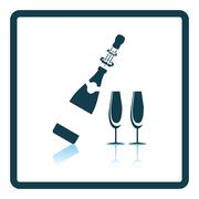 Party champagne and glass icon Stock Illustration