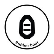 Icon of rubber boat - stock illustration