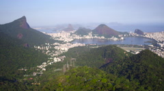 Aerial Dois Irmãos Hills and lake Rodrigo de Freitas and sea area Rio de Janeiro Stock Footage