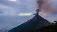 4k Timelapse of dramatic Fuego Volcano Eruption in Guatemala at Sunset - stock footage