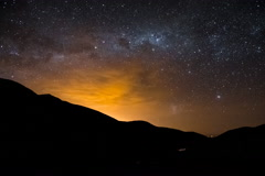 4k Timelapse Nightscape of Stars and Milki way over Bolivian mountains Stock Footage