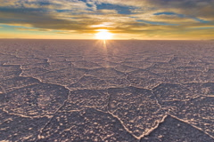4k Timelapse of Salar De Uyuni during sunset in Bolivia Stock Footage