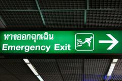 emergency exit sign in english and thai language - stock photo