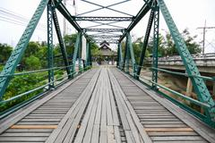 history bridge at Mae Hong Son, Thailand - stock photo