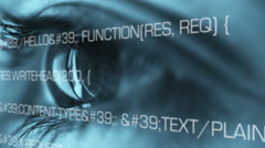 Blue eye computer code running Stock Footage