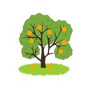 Orange Tree Icon - stock illustration