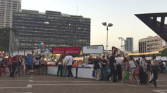 TEL AVIV  JUNE 21 2016 Wide shot of Book Week Fair.mov - stock footage