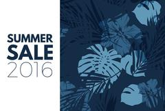 Blue indigo summer tropical hawaiian background with palm tree leaves and exotic Stock Illustration