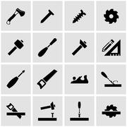 Vector black carpentry icon set Stock Illustration