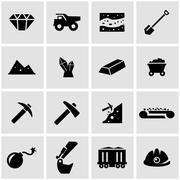 Vector black mining icon set - stock illustration